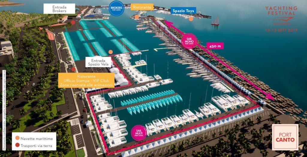 Salone nautico di Cannes 2019. Mappa di Port Canto