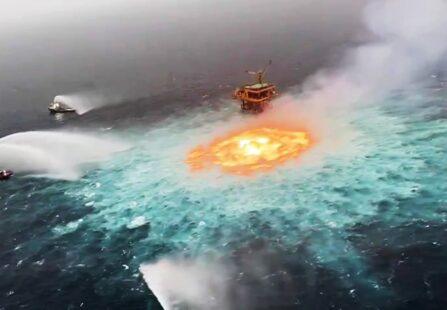 """Gasdotto nel Golfo del Messico cede creando un """"occhio di fuoco"""""""