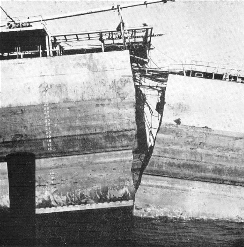 Dettaglio dello scafo rotto a metà della Schenectady, una delle Liberty Ships. (Fonte: Springer 2009)